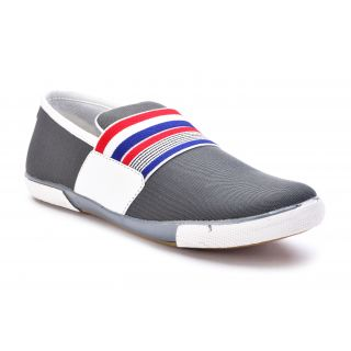 Stunner Men's Stylish Grey And Multi Color Slip On Casual Shoes
