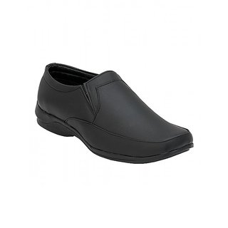 Troy Mens TF225 Black Faux Leather Formal Slip-Ons