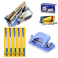 Kangaro Office Kit (Stapler+Punching Machine+Pins+Fevikwik+Reynolds Pens)