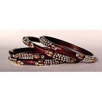 Beautiful Hand Crafted Redcolor Glass Bangles/kara(A-129)