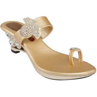 Shoe Bazar Gold Heels For Women (sb-1705-gold)