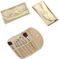 7 PCS Powder Blush Makeup Brush Cosmetic Brushes Set Kit W/ Golden Pouch