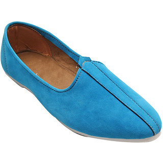 CERULEAN SUEDE LEATHER JALSA SLIP-ON WITH WHITE SOLE BY PORT