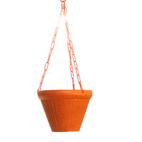 SGS 8 Inch Juhi Hanging Planter With Metal Chain- Set Of 2 (Terracotta)