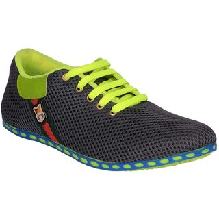 Jokatoo Mens Grey And Green Casuals Shoes