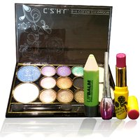 Combo Of Complete Makeover Eyeshdow Kit,Cinemetic Lipstick,Eyeliner  Lipbalm