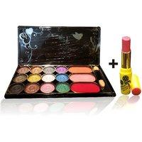 Combo Of Complete Makeover Eyeshdow Kit,Cinemetic Lipstick