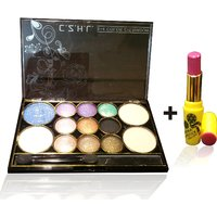 Combo Of Complete Makeover Eyeshdow Kit,Cinemetic Lipstick - 87038546