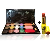 Combo Of Complete Makeover Eyeshdow Kit,Cinemetic Lipstick - 87038321
