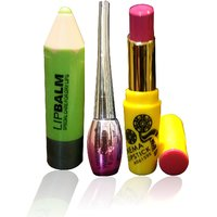 Combo Of Complete Makeover Cinemetic Lipstick,Eyeliner  Lipbalm