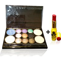 Combo Of Complete Makeover Eyeshdow Kit,Cinemetic Lipstick - 87071574