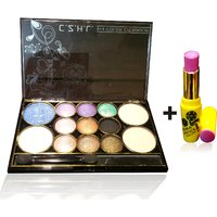 Combo Of Complete Makeover Eyeshdow Kit,Cinemetic Lipstick - 87071558