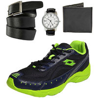 Combo Of Lotto Rapid Sports Sports Shoes With Round Dial Watch, Belt, Wallet-AR3181