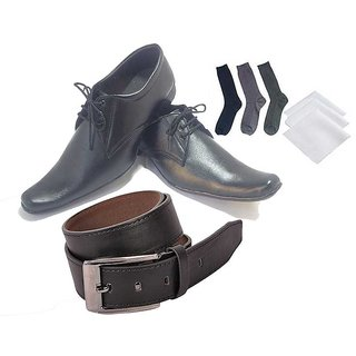 Buy Black Shoes With 3 Socks Handkerchiefs And Belt