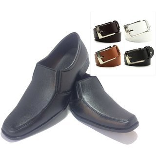 Black Formal Shoes For Men With Out Lace And Leatherite Belt For Men - Pack Of 4