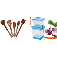 Shop-Now Combo Of Onion & Vegetable Chopper  & 5 Wooden Skimmers , Limited Period  Offer - 82642280