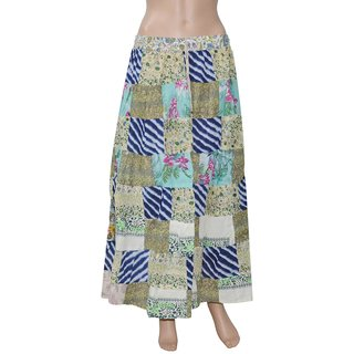 Pezzava: Women's Wear Gypsy Hippie Boho Patch Work Long Skirt SKT-PCL-A0090