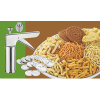 Stainless Steel Kitchen Press Grater Cookies / Indian Snakes / Murukku Maker / Farsan Sev Maker With Stailess Steel Jalis