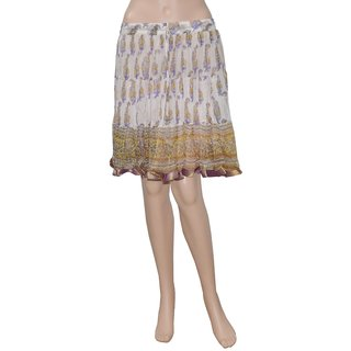 Pezzava: Ethnic Style Block Print Chiffon Mini Skirt Lace Work SKT-A0290