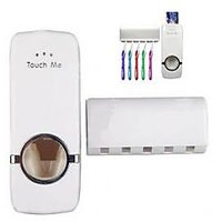 One Press Automatic Toothpaste Dispenser With 5 Tooth Brush Holder For Home