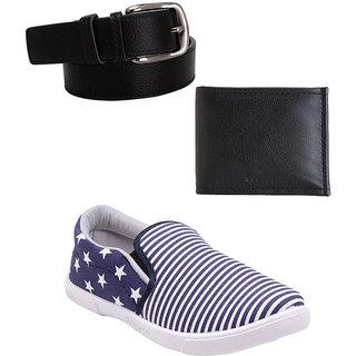 Elligator Stylish 1705 White  NBlue Casual Shoes With SDR Black Belt  Wallet
