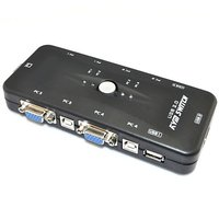 4 Ports USB 2.0 KVM Switch Connect 4 CPU To Single Monitor With Keyboard  Mouse