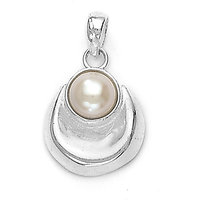 Sterling Silver Pearl & Moon Pendant By Taraash