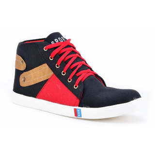 Boysons Black And Red Ankle Casual Shoes(opera42-blkred)