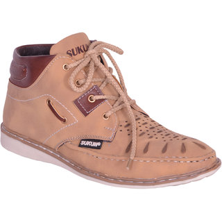 Sukun Beige Ankle Length Casual Shoes For Men (MST157BGH)