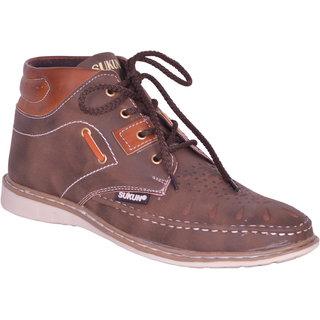 Sukun Brown Ankle Length Casual Shoes For Men (MST157BRN)