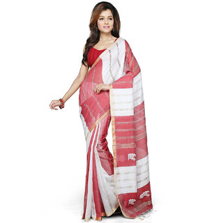 0d07616204d136 Red and White Color Cotton Silk Bengal Handloom Saree with Blouse Piece