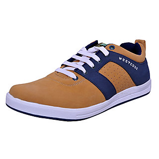West Code Mens Synthetic  Leather Casual Shoes 1101-Camel-6