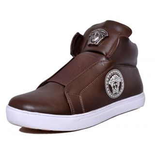 West Code Mens  Synthetic Leather Casual Shoes V-1-Brown-6