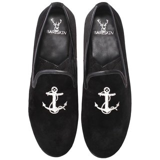 MENS HANDMADE BLACK VELVET SLIP-ON WITH SILVER EMBROIDERY (LIMITED EDITION)