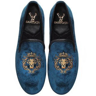 MENS HANDMADE BLUE VELVET SLIP-ON WITH LION-KING GOLDEN EMBROIDERY BY BARESKIN