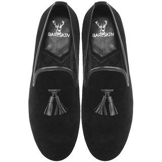BARESKIN BLACK VELVET / LEATHER TASSEL SLIP-ON SHOES