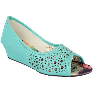 Womens  Green Wedges Heels
