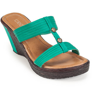 Khadims Cleo Womens Turquoise Slip-on Wedge Sandals
