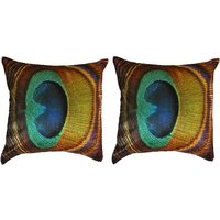 Pair of Morepankh Peacock Feather Cushion Cover Throw Pillow