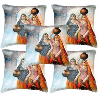 Set of five Indian Woman 4 Painting Cushion Cover Throw Pillow