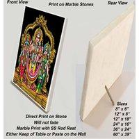 "Valli Deivanai Murugan Print on Marble Stone - Sized 8""x6"""