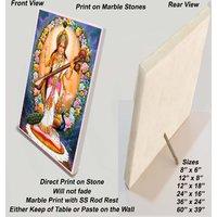 """Standing Saraswathi Print on Marble Stone - Sized 8""""x6"""""""