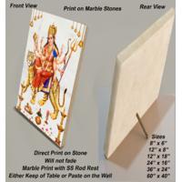 """Durgai Print on Marble Stone - Sized 8""""x6"""""""