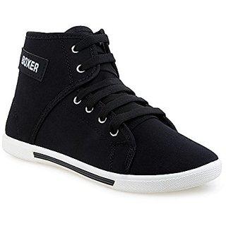 Earton Mens Black Canvas Sneakers