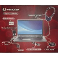 THRUMM Laptop KIT Headphone With MIC-USB Optical Mouse-USB HUB-Card Reader-Cable