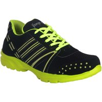 George Adam Airtone Black With Neon Green Lace Sport Shoes (sk042black Sports Shoes)