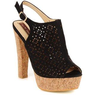 Flat N Heels Black Faux Leather Stiletto Heeled Sandals