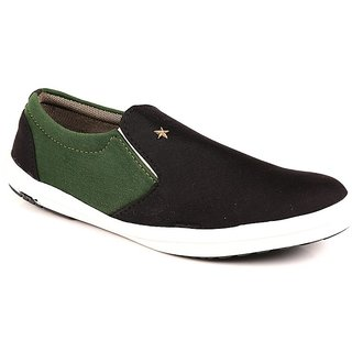 BT STAR Men's Black And Olive Slip On Casual Shoes