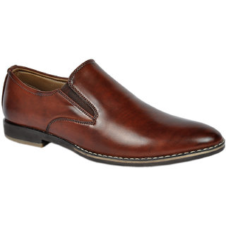 Footlodge Mens Leather Formal Slip On  Shoe-Brown (2351)