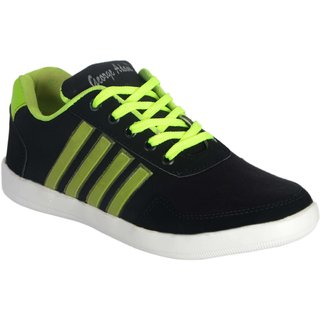 George Adam MenS Black With Neon Green Lace Casual Shoes ( Sk045 Boxer Black Sneekers)